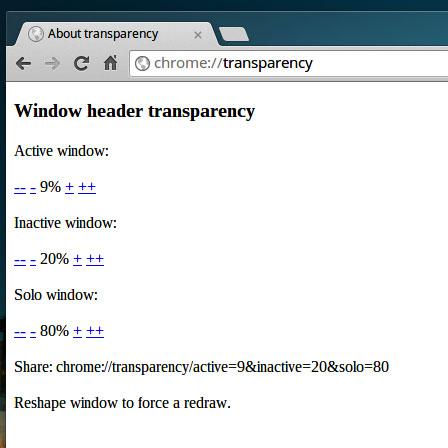 chrome transparency settings