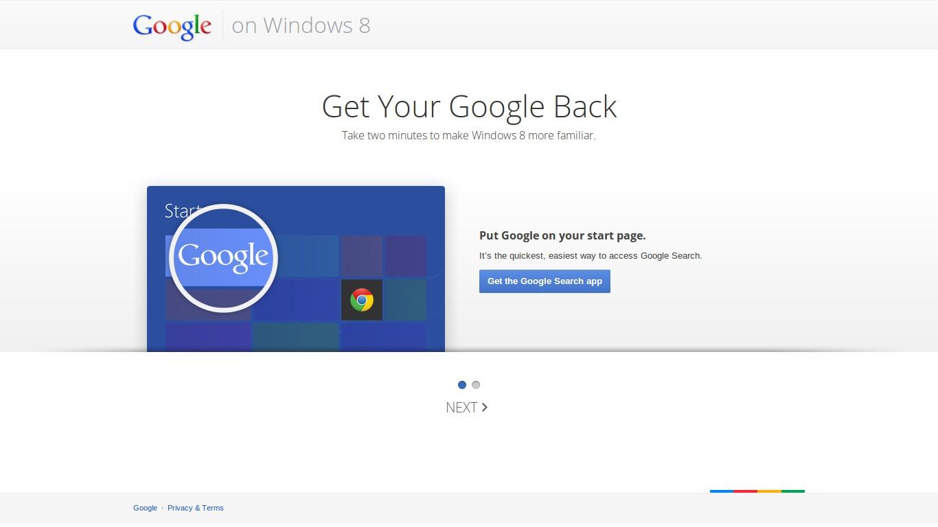 Google's website for Windows 8