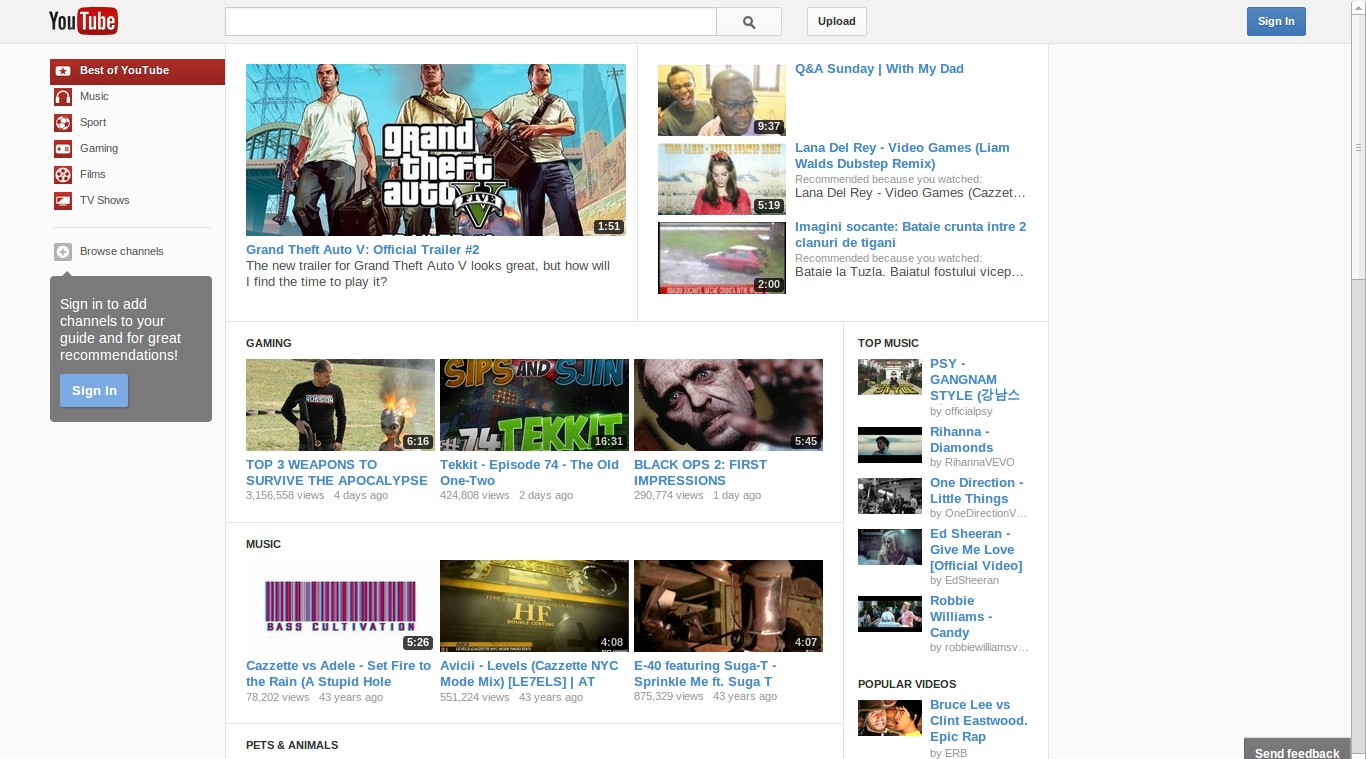 A recent YouTube layout