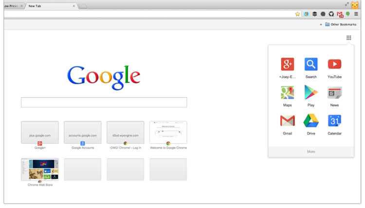 Google Launcher on Chrome New Tab Page