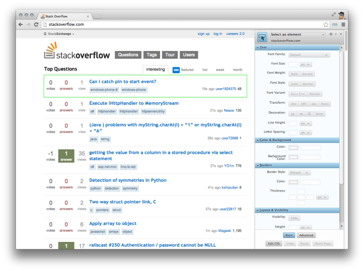 Restyling StackOverflow with Stylebot's sidebar