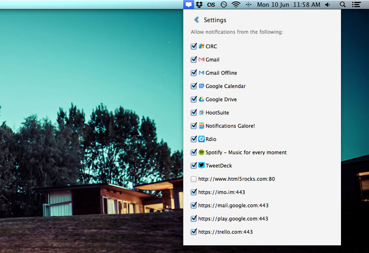 Notification Centre in Chrome Canary