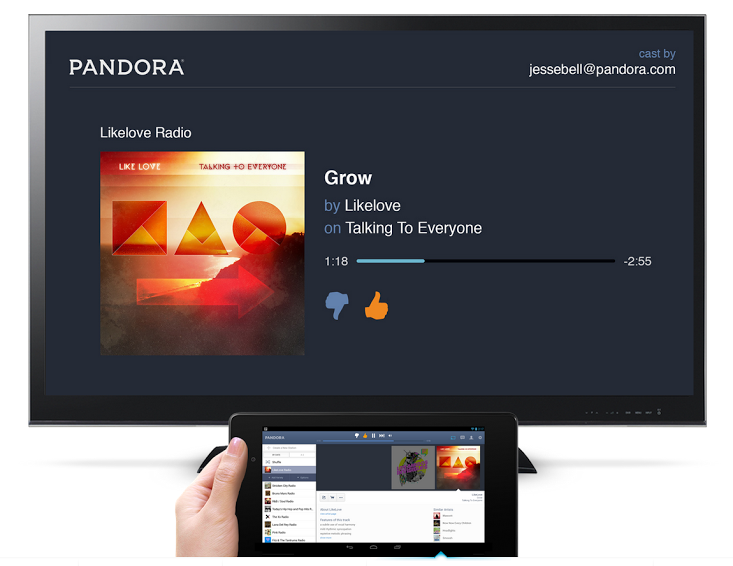 The Chromecast interface and new Pandora tablet layout.
