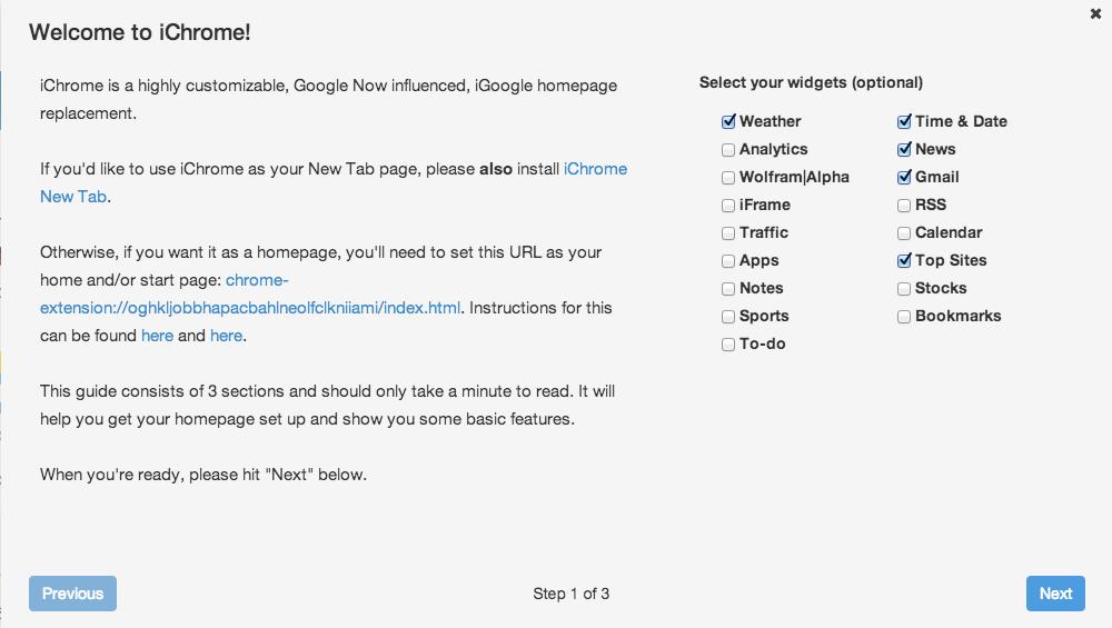 iChrome New Tab Page for Chrome - Part iGoogle, Part Google
