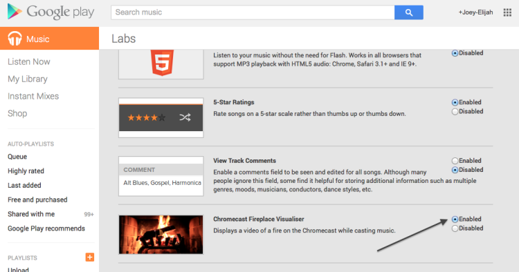 enable labs feature in goggle music