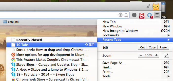 Recover Tabs in Chrome After Quitting