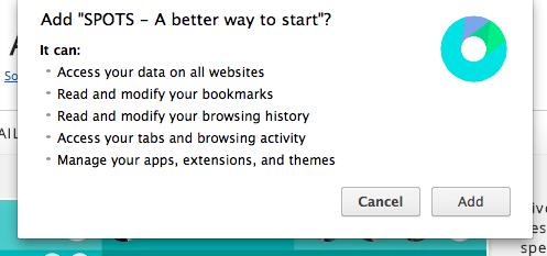 Spots new tab page permissions