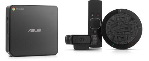 The Chromebox, webcam, mic/speaker, and remote.