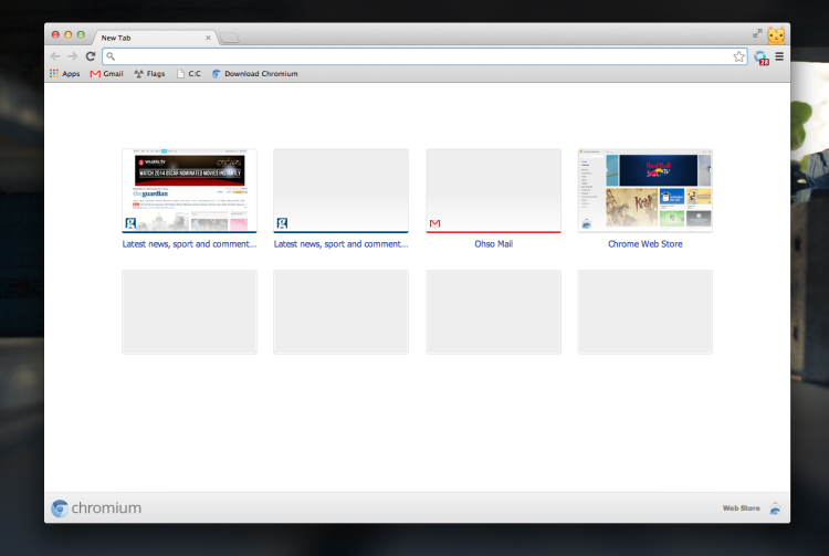New tab Reloaded in Chromium 35 on Mac