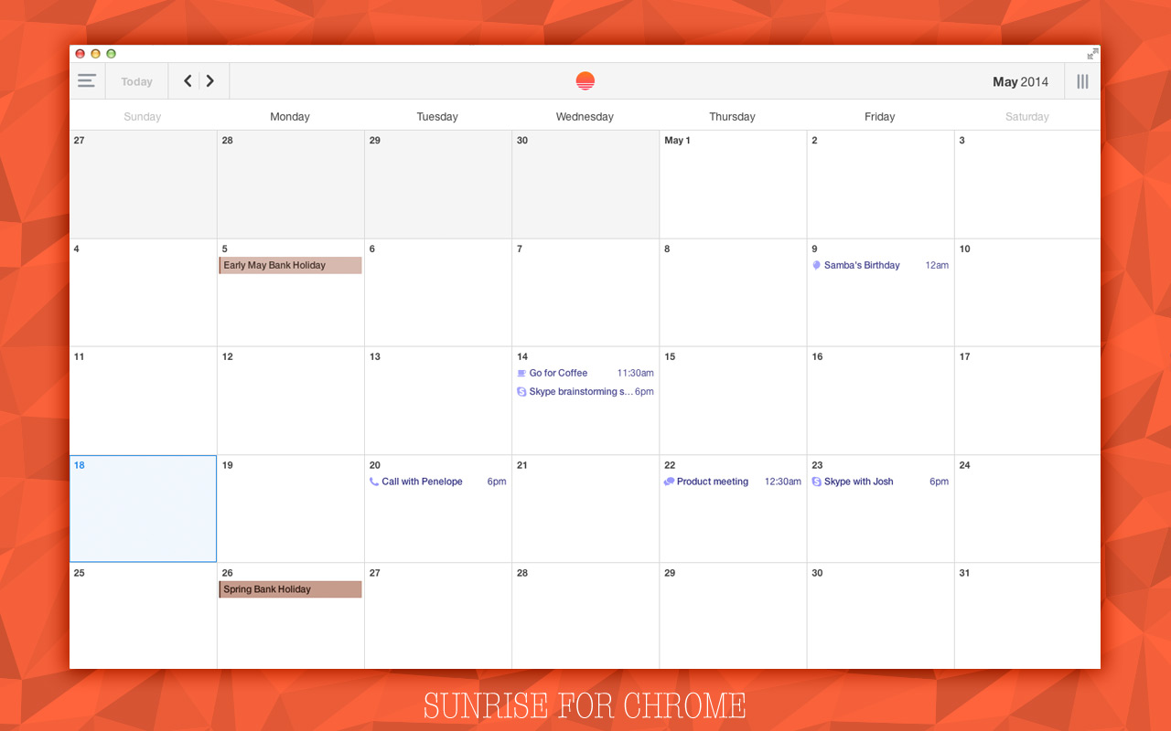 Sunrise Calendar App for Chrome Impresses with Style and