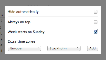 options screen for calendar clock app