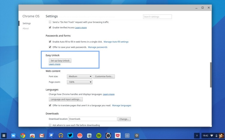 easy unlock in settings