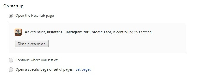 settings prompt for new tab change in chrome