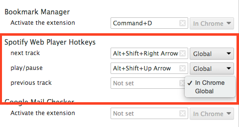 change keyboard shortcuts in chrome