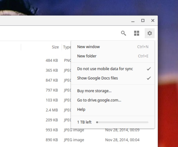 drive options in chrome os