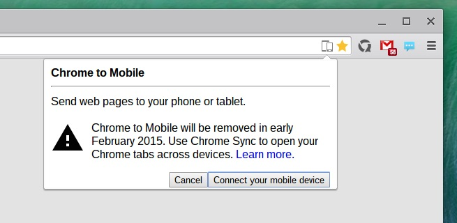 chrome to mobile extension