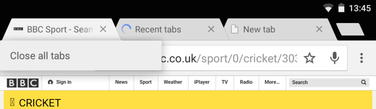 close all tabs in chrome android