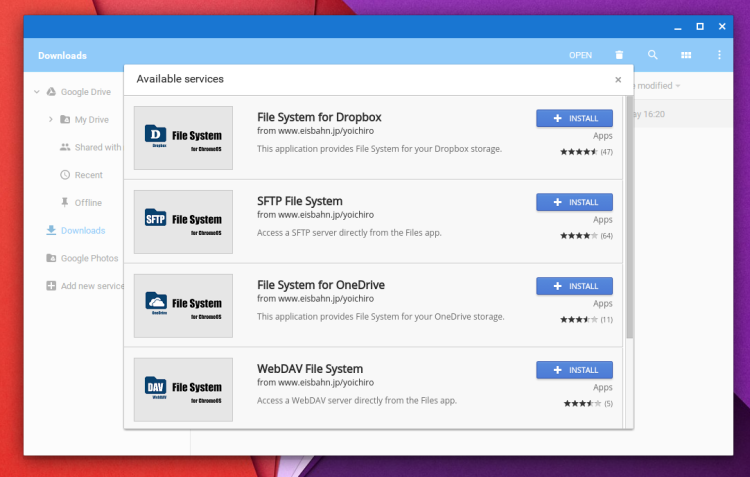 Chrome OS Add Services