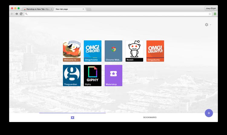 chrome new tab page raindrop io