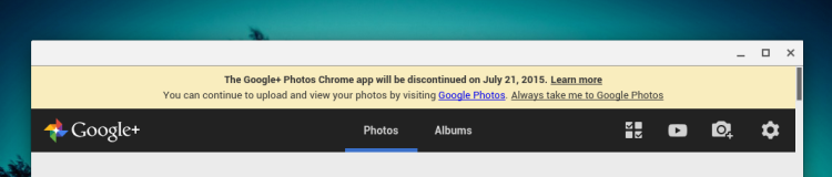 google+ photos chrome app will be discontinued
