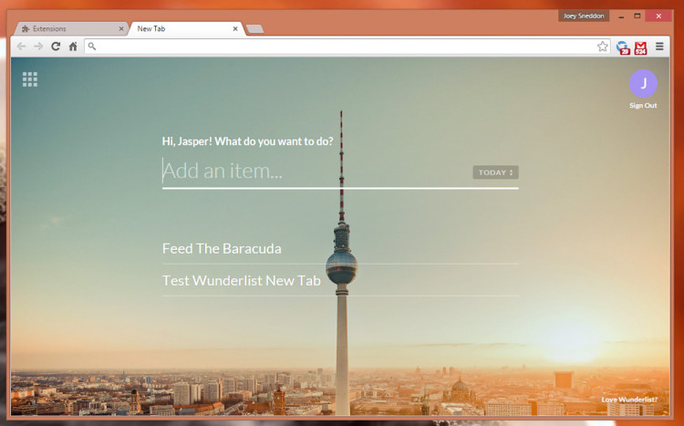 wunderlist new tab page chrome extension
