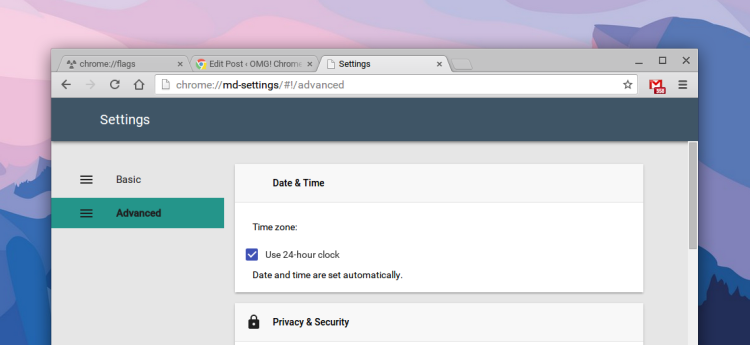Chrome material design settings page