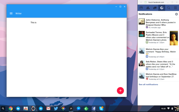 Facebook Touch in Chrome OS Sidebar