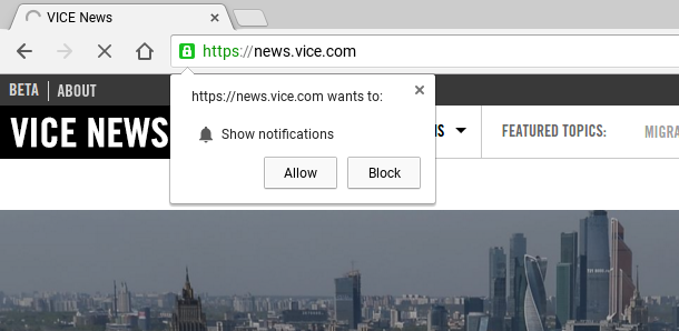 push notifications in chrome