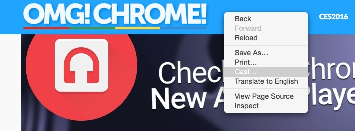 chromecast right click menu