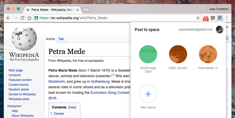 Google spaces chrome extension popover