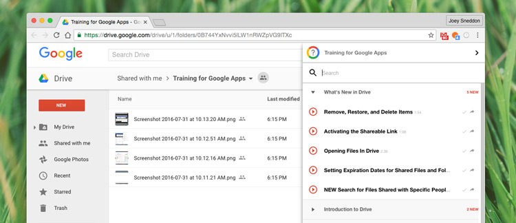 google training app extension