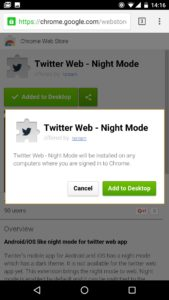 chrome android extensions option
