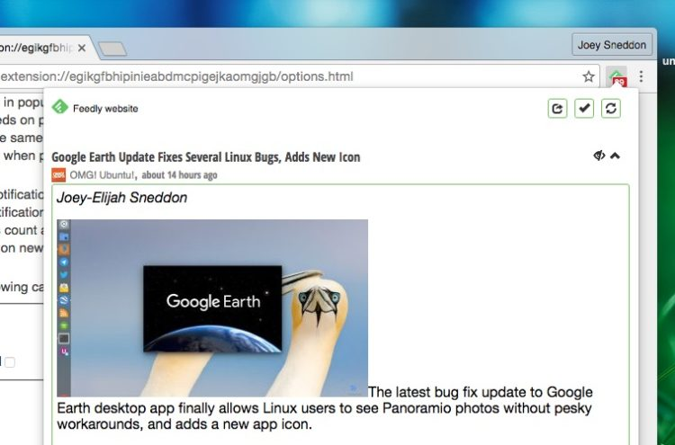 previewing a feedly article in the extension