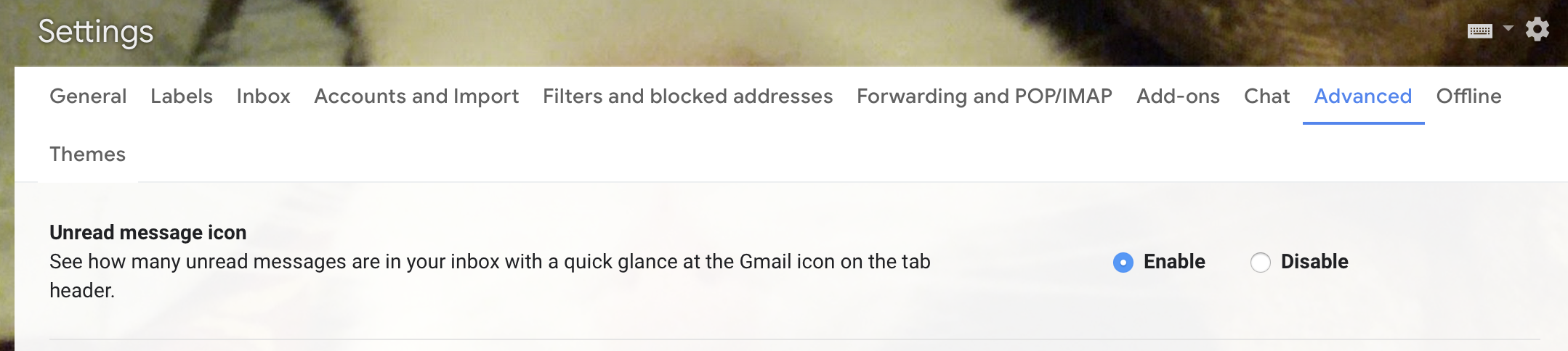 enable advanced gmail unread message icon