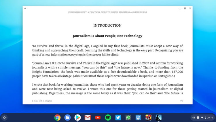 The Kindle Android app running on a Chromebook