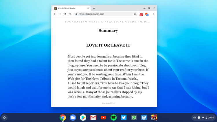 The Kindle Cloud Reader app running on the Chrome OS desktop