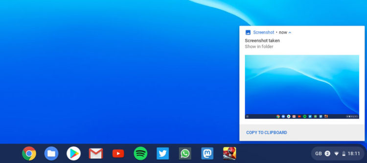 a chrome os notification of a screenshot taken
