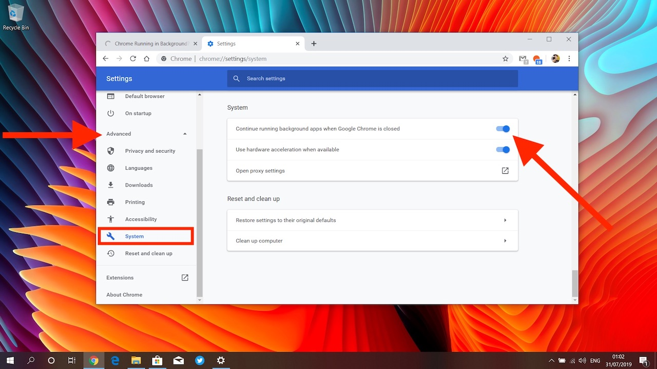 Chrome system setting to 'continue running background apps when google chrome is closed'