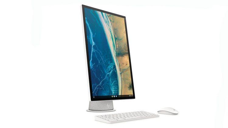 Photo of the HP Chromebase AIO display at 90 degrees